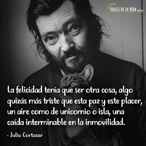 Frases de Julio Cortázar, La felicidad tenía que ser otra cosa, algo quizás más triste que esta paz y este placer, un aire como de unicornio o isla, una caída interminable en la inmovilidad.