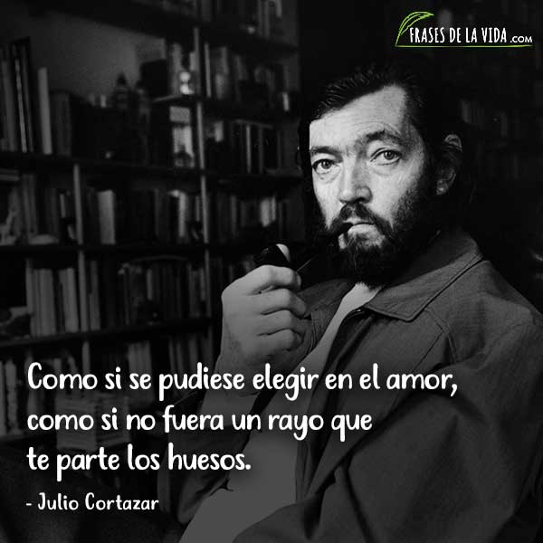 Frases de Julio Cortázar, Como si se pudiese elegir en el amor, como si no fuera un rayo que te parte los huesos.