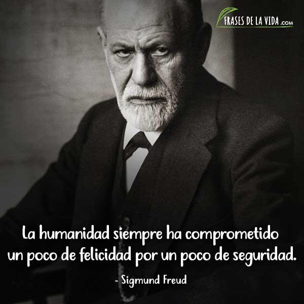 Frases de Sigmund Freud, La humanidad siempre ha comprometido un poco de felicidad por un poco de seguridad.