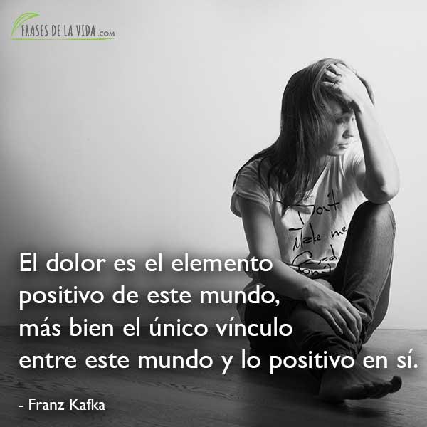 Frases de Franz Kafka, El dolor es el elemento positivo de este mundo, más bien el único vínculo entre este mundo y lo positivo en sí.
